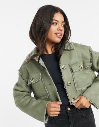 ASOS DESIGN bonded suedette button through jacket in mint