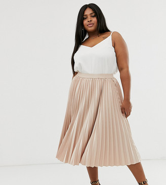 MinkPink Outrageous Fortune Plus midi pleated skater skirt in mink-Pink