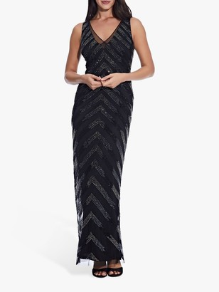 Adrianna Papell Beaded V Neck Sleeveless Gown, Black/Gunmetal