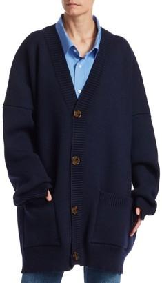 Vetements Wool-Blend Knit Cardigan