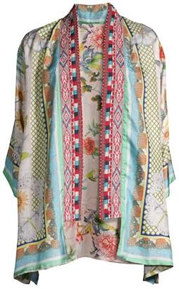 Johnny Was Claret Reversible Embellished Silk Kimono
