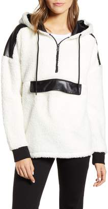 Andrew Marc Faux Leather Trim Teddy Fleece Half Zip Hoodie