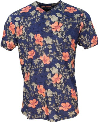 Lords Of Harlech Maze Oriental Hibiscus Navy