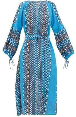 D'Ascoli Athena Floral Print Silk Crepe De Chine Dress - Womens - Blue