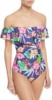 LaBlanca La Blanca Bora Off-the-Shoulder Ruffle One-Piece Swimsuit