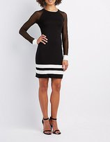 Charlotte Russe Varsity Stripe Mesh-Sleeve Bodycon Dress