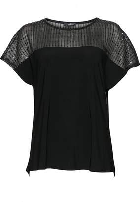 Wallis Black Mesh Sequin Top