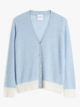 Trilogy Cashmere Contrast Cardigan, Baby Blue/Cream