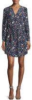 Rebecca Taylor Long-Sleeve Floral Silk Drawstring Dress, Blackberry
