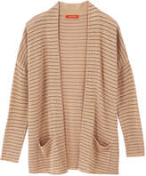 Joe Fresh Women's Stripe Open Cardigan, Light Tan (Size L)