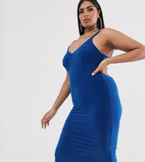 London Plus soft touch midi dress with ruched open back detail in cobalt  blue