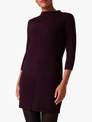 Phase Eight Francesca Ribbed Dress, Burgundy