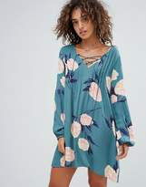 Billabong Lace Up Floral Beach Dress