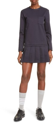 Thom Browne Pleated Drop Waist Long Sleeve Minidress