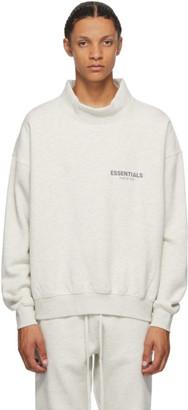 Essentials Grey Heather Mock Neck Sweatshirt