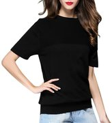 Paixpays Women Boat Neck Short Sleeve Cashmere Sweater Batwing Sweaters Jumper