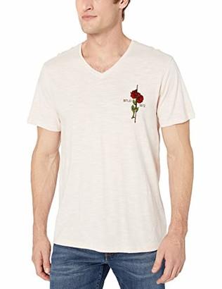Buffalo David Bitton Men's Short Sleeve v Neck tee with Front Rose Applique