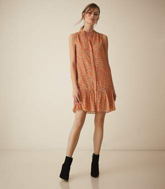 Reiss Nia - Printed Shift Dress in Coral