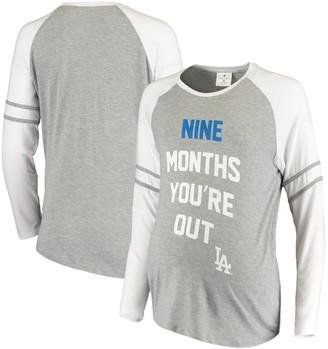 Women's Soft as a Grape Gray Los Angeles Dodgers Maternity Baseball Long Sleeve T-Shirt