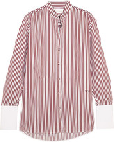 Victoria, Victoria Beckham - Striped Cotton-twill Shirt - Burgundy