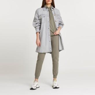 River Island Womens Grey tie waist shirt dress