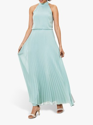 Oasis Pleated Skirt Halter Neck Maxi Dress