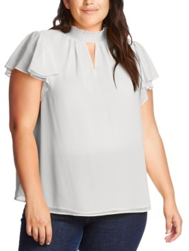 1 STATE Plus Size Smocked Flutter-Sleeve Top
