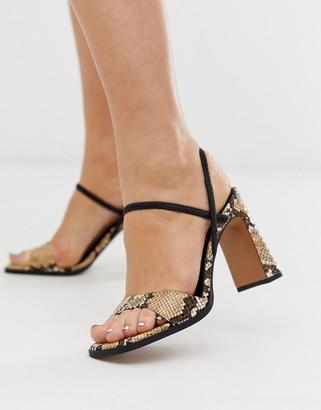 Asos Design DESIGN Natural slingback block heeled sandals in snake-Multi