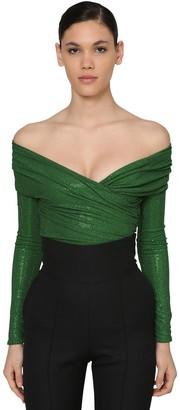 Alexandre Vauthier Embellished Off Shoulder Jersey Bodysuit
