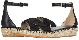 Cole Haan Cloudfeel Espadrille Ankle Strap Sandal (Black Python Print Leather/Tonal Hand Stitch/Natural Jute) Women's Shoes