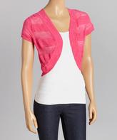Fandango Pink Sheer-Stripe Sweater Shrug