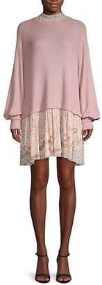 Free People Textured Mixed-Media Sweater Dress