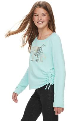 Mudd Girls 7-16 & Plus Size Cozy Cinch Front Printed Top