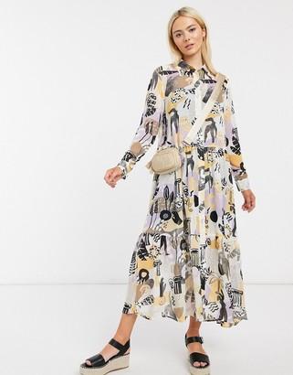 Monki Collina abstract print midi dress in multi