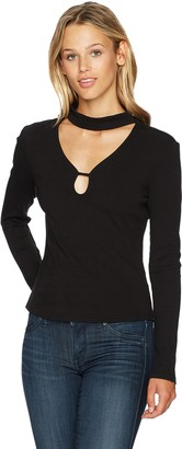 Jack by BB Dakota Women's Wilmer Rib Knit Top with Front Cut Out