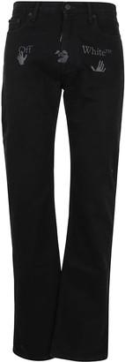 Off-White Ow Logo Straight Leg Jeans