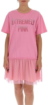 RED Valentino Extremely Pink Printed T-Shirt Dress