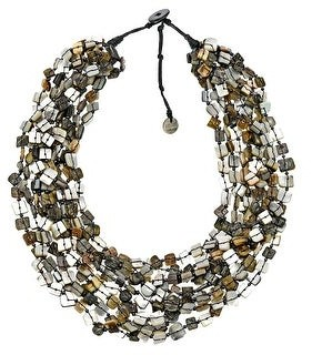 Aeravida Handmade Ocean's Essence Blacklip Shell Squares Multi-Stand Chunky Layered Necklace
