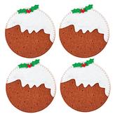 John Lewis Felt Christmas Pudding Coasters, Set of 4