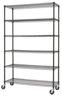Trinity Basics 6-Tier Wire Shelving Rack with Nsf Includes Wheels