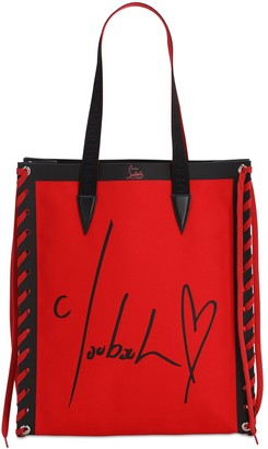 Christian Louboutin CABALASE PRINTED COTTON CANVAS TOTE BAG