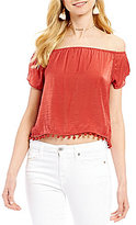 The Jetset Diaries Leone Off-the-Shoulder Pom Trimmed Blouse