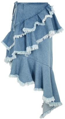 Marques Almeida Light blue ruffle-trimmed denim midi skirt