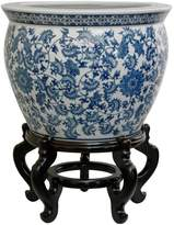 """Oriental Furniture 14"""" Floral Blue and White Porcelain Fishbowl"""