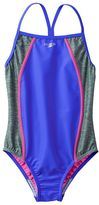 Speedo Girls 7-16 Heather Splice One-Piece Swimsuit
