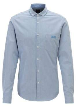 BOSS Regular-fit shirt in patterned cotton with contrast accents
