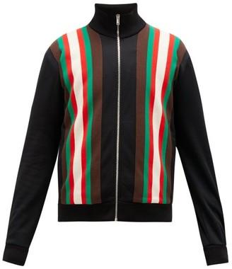 Gucci Web-stripe Technical-blend Fleece Track Jacket - Mens - Black