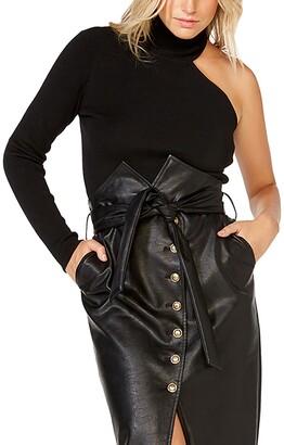 Bardot One-Shoulder Knit Turtleneck