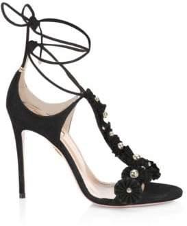 Aquazzura Suede Wraparound Sandals