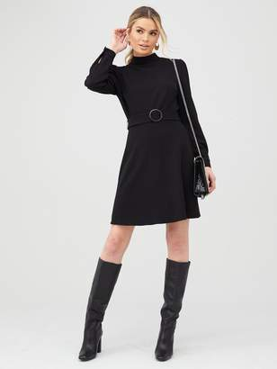 Very Sleeve Detail Belted Skater Dress - Black